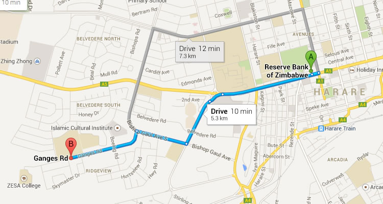 Directions to Harare Institute of Technology from Reserve Bank of Zimbabwe
