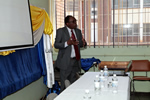 Dean Perkins Muredzi addressing students during the ARIPO two-day training workshop on Intellectual Property.