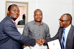 From Left - HIT Vice Chancellor, Eng. Q.C. Kanhukamwe, Hon. Deputy Minister of Higher and Tertiary Education, Science and Technology Development, Dr. G. Gandawa and the Acting CEO of Verify Engineering, Eng. P. Tapfumaneyi at the signing ceremony of the Memorandum of Agreement between the three parties.